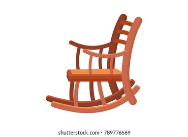 Classic Antique Wood Rocking Chair Object Illustration. Vintage Rocking  Chair. Wooden Old Rock Chair