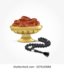 Classic arabic bowl of dates with islamic rosary breads isolated on white background. ramadan fasting simbol