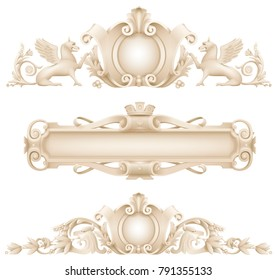 Classic architectural facade decor for the facade of the arch. Set of vector elements.