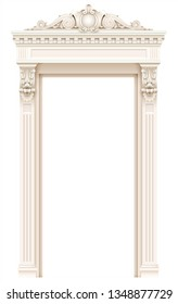 Classic architectural window or door facade decor for the frame. Set of vector elements. Transparent shadow.