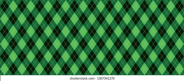 Classic Argyle pattern Background lozenge diamond checkered check diamonds print plaid Vector Seamless Geometric shape fun funny flanel textile fabric weaving Bright square green yellow emerald