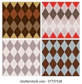 Classic argyle pattern in four color schemes.
