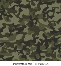 Classic army camouflage. Seamless pattern. Military texture. Print ornament. Vector