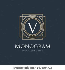 classic art deco luxury linear monochrome golden minimal hipster geometric vintage vector monogram, frame , border , label for your logo badge or crest