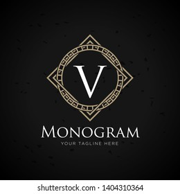 classic art deco luxury linear monochrome golden minimal hipster geometric vintage vector monogram, frame , border , label for your logo badge or crest
