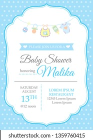 Classic baby boy shower invitation template with baby toys