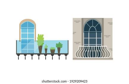 Classic Balcony Windows Colllection, House Facade Design Elements Vector Illustration