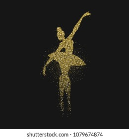 Classic ballet dancer silhouette made of gold glitter splash. Golden ballerina woman dancing in action on black background. EPS10 vector.