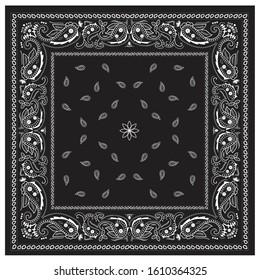 Classic bandana print ornament black and white paisley