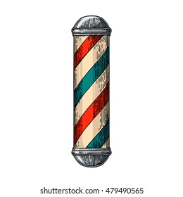 Classic barber shop Pole. Vector color vintage illustrations isolated on white backgrounds. Hand drawn engraving for poster, label, banner, web.
