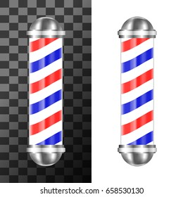 Classic barbershop pole with red, blue and white stripes. Barber shop sign or symbol. Vector illustration.