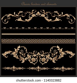 classic baroque borders and elements. traditional vintage borders and elements for invitation cards, art , brochure