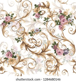classic baroque pattern with flowers. classic floral pattern witn baroque elements