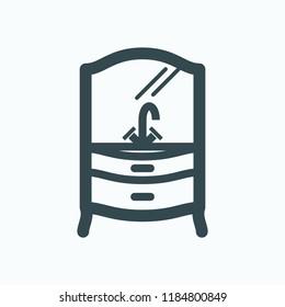 Classic bathroom furniture vector icon