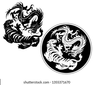 The classic battle between the tiger and the dragon in eastern mythology. Black and white in both positive and negative vectors.
