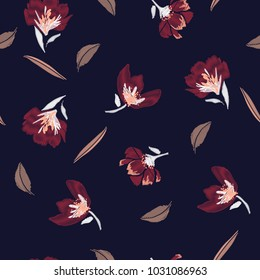 Classic and beautiful Embroidery flowers, spring seamless pattern. Classical blooming embroidery leaves, spring floral, seamless pattern. Fashionable template for design of clothes, design on navy