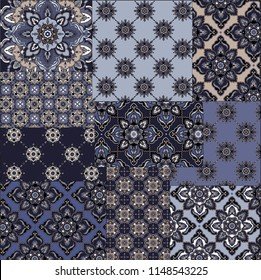 classic beautiful paisley pattern. seamless blue patchwork and paisley pattern