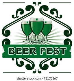 classic beer shield with green cups and banner