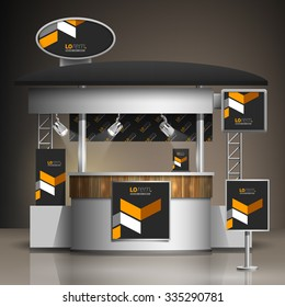Classic black exhibition stand design with yellow geometric elements. Booth template. Corporate identity