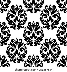 Classic black floral damask seamless pattern for interior or background design