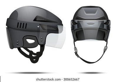 Classic black Hockey Helmet with glass visor. Front and side view. Sports Vector illustration isolated on white background.