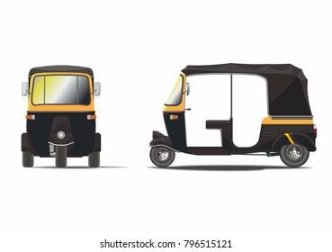 Classic black rickshaw vector