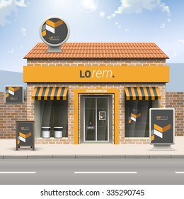 Classic black store design with yellow geometric elements. Elements of outdoor advertising. Corporate identity
