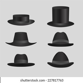 Classic Black top hat Derby Hats and caps Classic Black top hat Derby Hats and caps vector illustration.