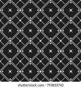 Classic black and white seamless patterns with rhombus, crosses and lines. Dark background,  endless texture. Can be used for wallpaper, pattern fills, web page background,surface textures.