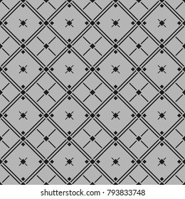 Classic black and white seamless patterns with rhombus, crosses and lines. Light background,  endless texture. Can be used for wallpaper, pattern fills, web page background,surface textures.