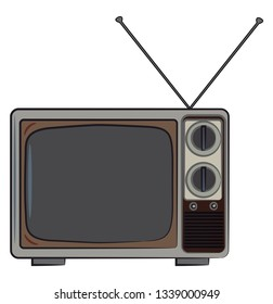A classic black & white TV with manual nob & antenna on the top vector color drawing or illustration