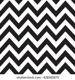 Classic black zigzag lines pattern on white background. Vector design. Black and white zigzag seamless