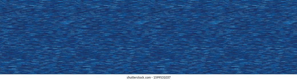 Classic blue denim marl vector seamless border pattern. Heathered jeans effect. Dark indigo space dyed texture ribbon trim. Textile edging background. Cotton blu melange t shirt washi tape band.