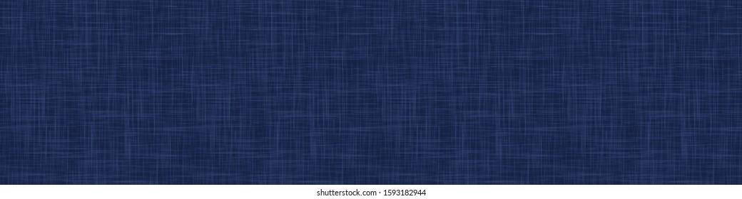 Classic Blue French Linen Texture Banner Background. Dark Denim Blu Dye Fibre Seamless Border Pattern. Organic Yarn Close Up Weave Effect Fabric for Masculine Jeans Textile Ribbon Trim Edging. EPS10