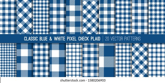 Classic Blue Gingham Plaid Vector Patterns. 2020 Color of the Year. Pixel Check Tartan. Flannel Shirt Fabric Textures of Different Styles. Repeating Pattern Tile Swatches Included.