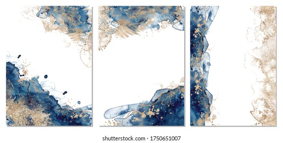 Classic blue and gold abstract backgrounds set. Templetes for cards and poster. Vector illustration