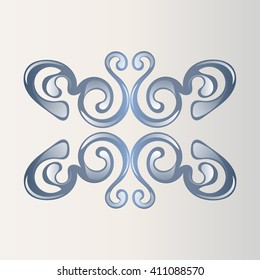 classic blue pattern on a light background with reflection elements