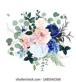 Classic blue rose, pink hydrangea, ranunculus, dahlia, thistle flowers, emerald greenery and eucalyptus, juniper leaves vector design bouquet.Trendy color wedding floral bunch. Isolated and editable