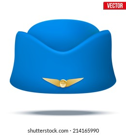 Classic Blue Stewardess hat forage cap of air hostess uniform. Civil aviation and air transport. Vector Illustration isolated on white background.