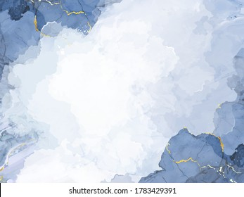 Classic blue watercolor fluid painting vector design card. Dusty grey and golden geode frame. Winter wedding invitation. Snow,ice or veil texture. Dye splash style. Alcohol ink. Isolated and editable
