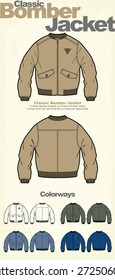 Classic Bomber Jacket Vector Clothing Template
