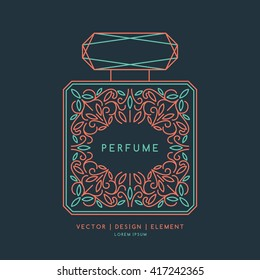A classic bottle of perfume. Vector illustration. Linear image perfume to monogram. Floral monogram