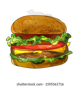 Classic Burger illustration. Burger isolated. Cheeseburger vector on white background.