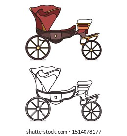 Classic cab of XIX century or retro wagon, vintage chariot or old carriage for transportation. Isolated icons of cart outline or contour. Opened perth-cart. Clarence or landau, stagecoach or caleche
