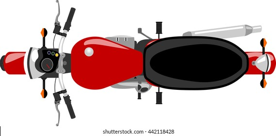 classic caferacer motorcycle isolated top view