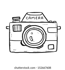 classic camera / cartoon vector and illustration, hand drawn, sketch style, isolated on white background.