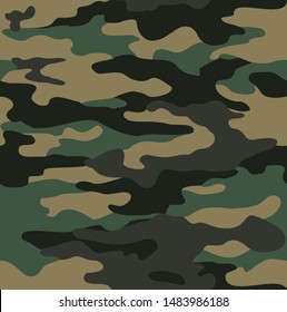 Classic camouflage seamless pattern. Military texture. Fabric design. Print on paper. For vinyl, textile. Vector