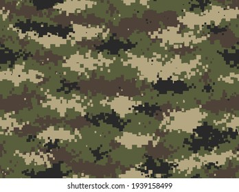 Classic camouflage seamless pattern. Pixel camo. Military texture. Endless ornament for printing onto fabric. Vector illustration.
