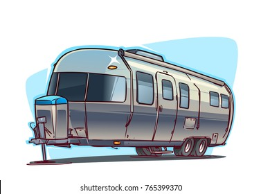 Classic Camper. Cartoon  iillustration isolated on white