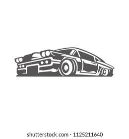 Classic car icon isolated on white background vector illustration. Car vector graphic silhouette.